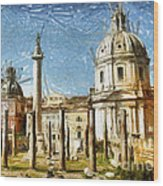Rome Italy - Drawing Wood Print