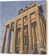Rome Temple Of Antoninus And Faustina 01 Wood Print