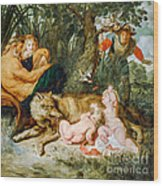 Romulus And Remus Wood Print