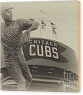 Ron Santo Chicago Cub Statue In Heirloom Finish Wood Print
