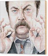 Ron Swanson Mustache Portrait Wood Print