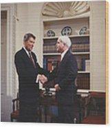 Ronald Reagan And John Mccain Wood Print