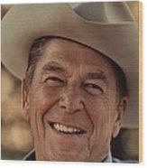 Ronald Reagan In 1976 At His Home At Rancho Del Cielo Wood Print