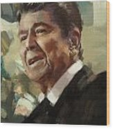 Ronald Reagan Portrait 5 Wood Print by Corporate Art Task Force