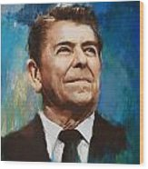 Ronald Reagan Portrait 6 Wood Print by Corporate Art Task Force