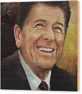 Ronald Reagan Portrait 8 Wood Print by Corporate Art Task Force