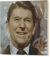 Ronald Reagan Portrait Wood Print by Corporate Art Task Force