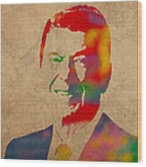 Ronald Reagan Watercolor Portrait On Worn Distressed Canvas Wood Print