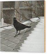 Roof Crow Wood Print