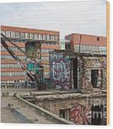 Roof Of The Alte Eisfabrik Ruin In Berlin Wood Print
