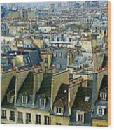 Roof Tops And Eiffel Tower Wood Print