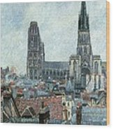 Roofs Of Old Rouen Grey Weather  Wood Print