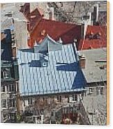 Roofs Of Quebec Wood Print