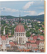 Rooftop Of Parliament Building In Budapest Wood Print