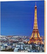 Rooftop View On The Eiffel Tower Wood Print