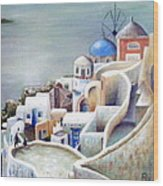 Rooftops And Terraces Of Santorini Island In Greece Wood Print