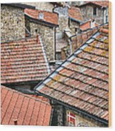 Rooftops Of Apricale.italy Wood Print