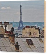 Rooftops Of Paris And Eiffel Tower Wood Print