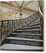 Rookery Building Atrium Staircase Wood Print