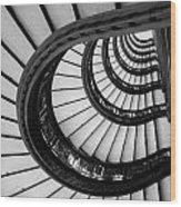 Rookery Building Looking Up The Oriel Staircase - Black And White Wood Print