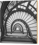 Rookery Building Oriel Staircase - Black And White Wood Print