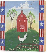 Rooster Americana Wood Print by Linda Mears
