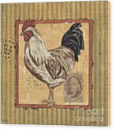 Rooster And Stripes Wood Print by Debbie DeWitt