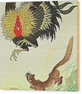 Rooster And Weasel Wood Print