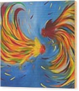 Rooster Fight Wood Print