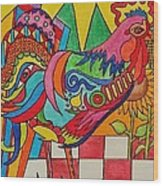 Rooster On Lookout  Wood Print