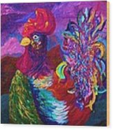 Rooster On The Horizon Wood Print
