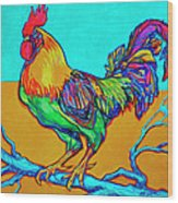 Rooster Perch Wood Print
