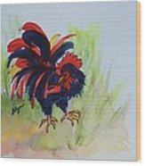 Rooster - Red And Black Rooster Wood Print