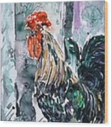 Rooster  Wood Print by Zaira Dzhaubaeva
