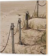 Rope And Wooden Fence Wood Print