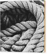 Rope Black And White Wood Print