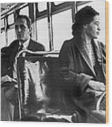 Rosa Parks On Bus Wood Print