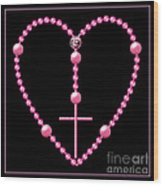 Rosary With Pink And Purple Beads Wood Print