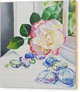 Rose And Glass Rocks Wood Print