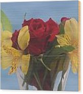 Rose And Peruvian Lilies Wood Print