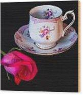 Rose And Tea Cup Wood Print