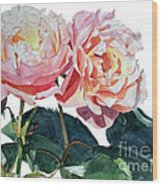 Pink And Yellow Rose Anne Wood Print