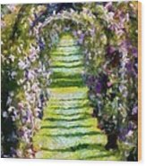 Rose Arch In Summer Sunshine Wood Print