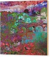 Rose Bridge Landscape Wood Print