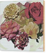 Rose Collage Wood Print