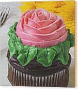 Rose Cupcake Wood Print