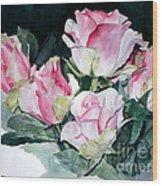 Watercolor Of A Pink Rose Bouquet Celebrating Ezio Pinza Wood Print