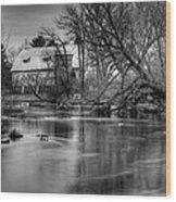 Rose Farm Black And White Wood Print