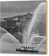 Rose Festival Fire Boat Wood Print