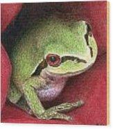 Rose Frog Wood Print